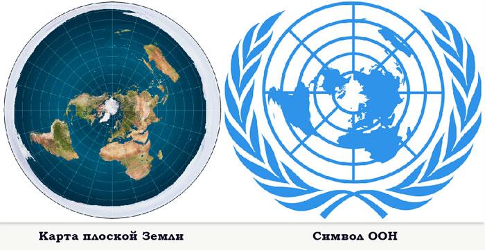 карта плоской земли и символ оон
